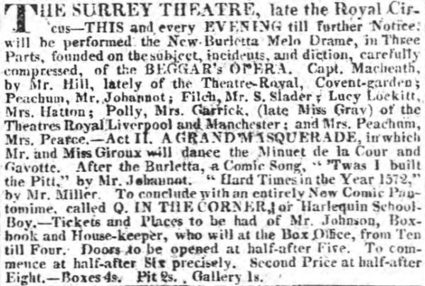 A Notice published in The Morning Post of the 25th of April 1910 on the Opening of the Surrey Theatre.