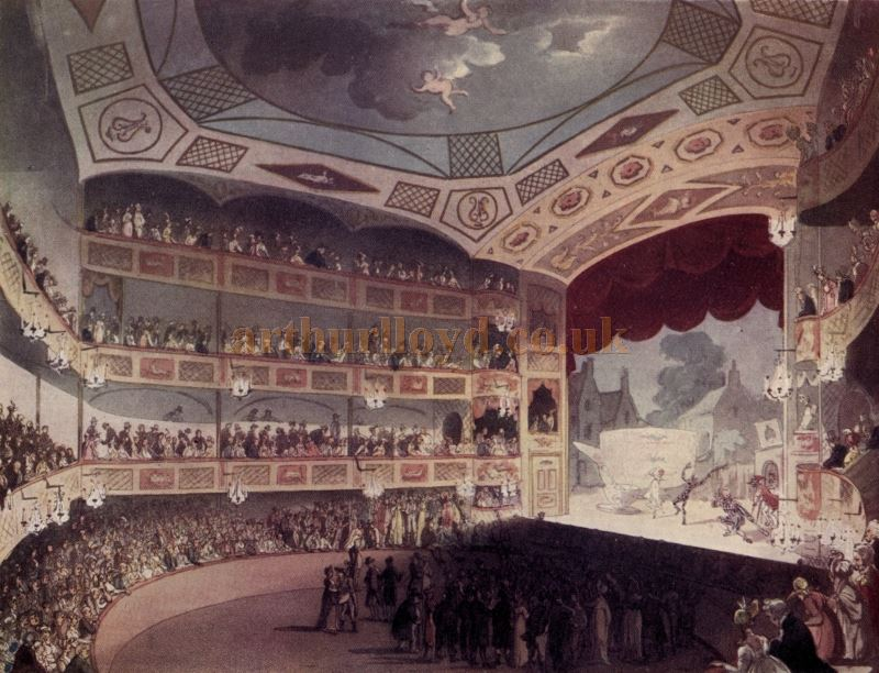 The Auditorium and Stage of the Royal Circus, Blackfriars Road - From 'Microcosm of London or London in Miniature Vol 3', 1904.