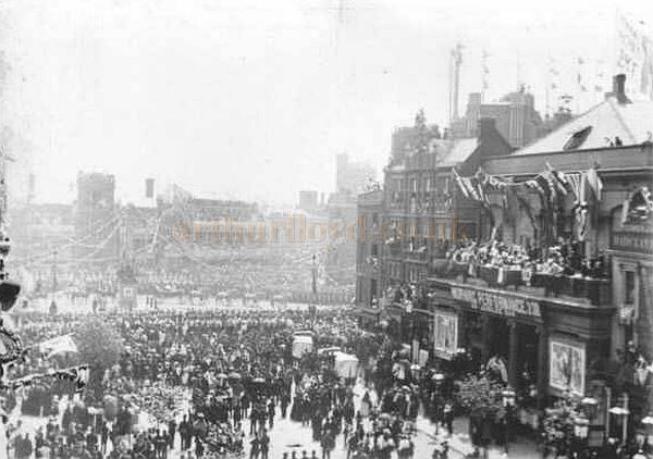 The Surrey Theatre during Queen Victoria's Diamond Jubilee celebrations in 1897.