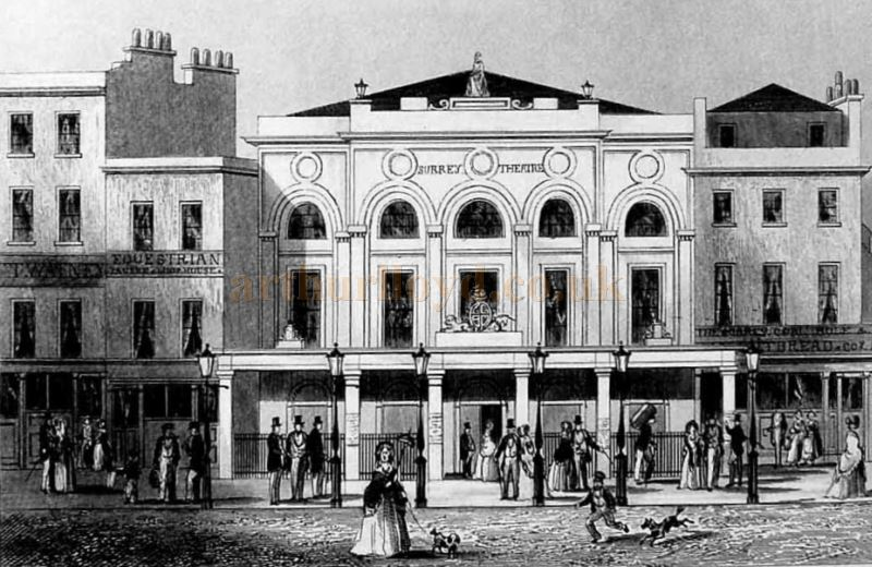 An early image depicting the Surrey Theatre Blackfriars Road, London.
