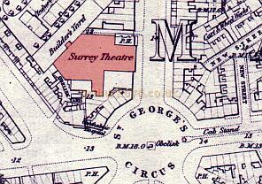 A section from an Ordnance Survey Map of Waterloo & Southwark from 1872, showing the site of the former Surrey Theatre.