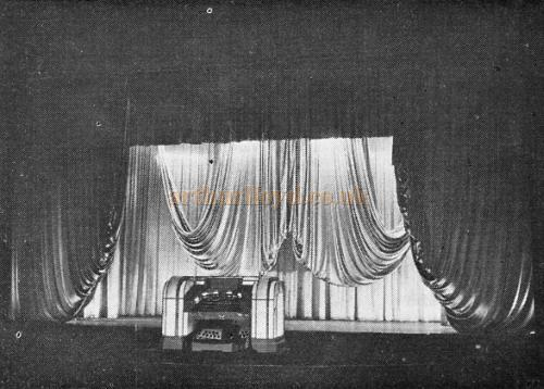 The Compton 3/10 No. A 202 Organ Console risen to stage level at the Granada Sutton, formerly the Plaza Theatre - From the 21st Anniversary edition of the Cinema Organ Society Journal 1973