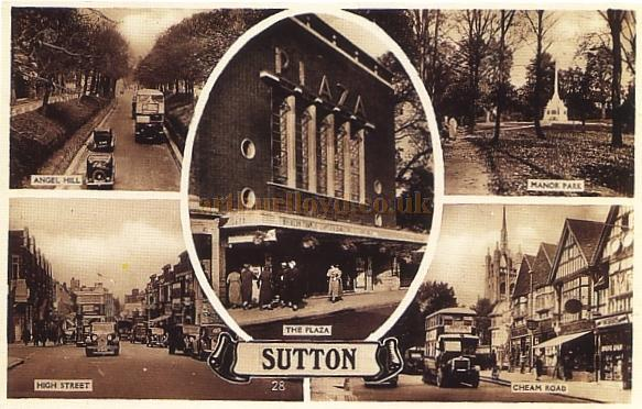 A Postcard showing several views of Sutton, Surrey, including the Plaza Theatre, later the Granada Cinema.