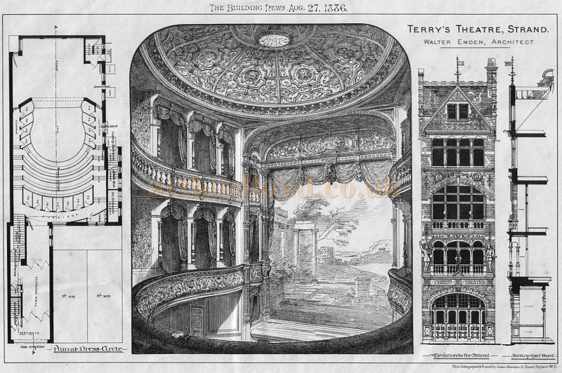 Walter Emden's Plans for Terry's Theatre, Strand, London - From 'The Building News' August, 27th, 1886