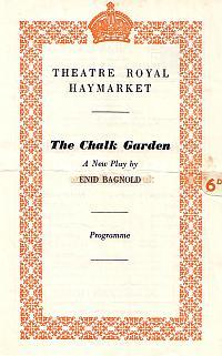 Programme for 'The Chalk Garden' at the Theatre Royal Haymarket in 1956.