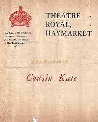 Programme for 'Cousin Kate' at the Theatre Royal Haymarket in the 1920s.
