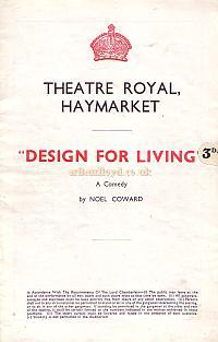 Programme for Noel Coward's 'Design For Living' at the Theatre Royal Haymarket in 1939.