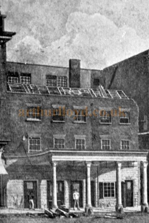 The First Haymarket Theatre when it was being dismantled after the new Theatre was built next door in 1821 - From an engraving published by Robert Wilkinson in 1822 and reproduced in the book 'Shakspere to Sheridan' by Alwin Thaler in 1922.
