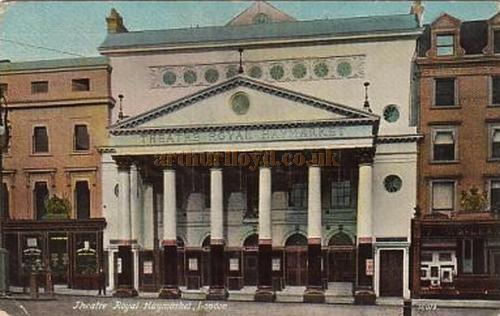 Postcard of the Theatre Royal Haymarket, dated 1906. Notice the original Theatre, converted to shops, is still to be seen to the left of the Second.