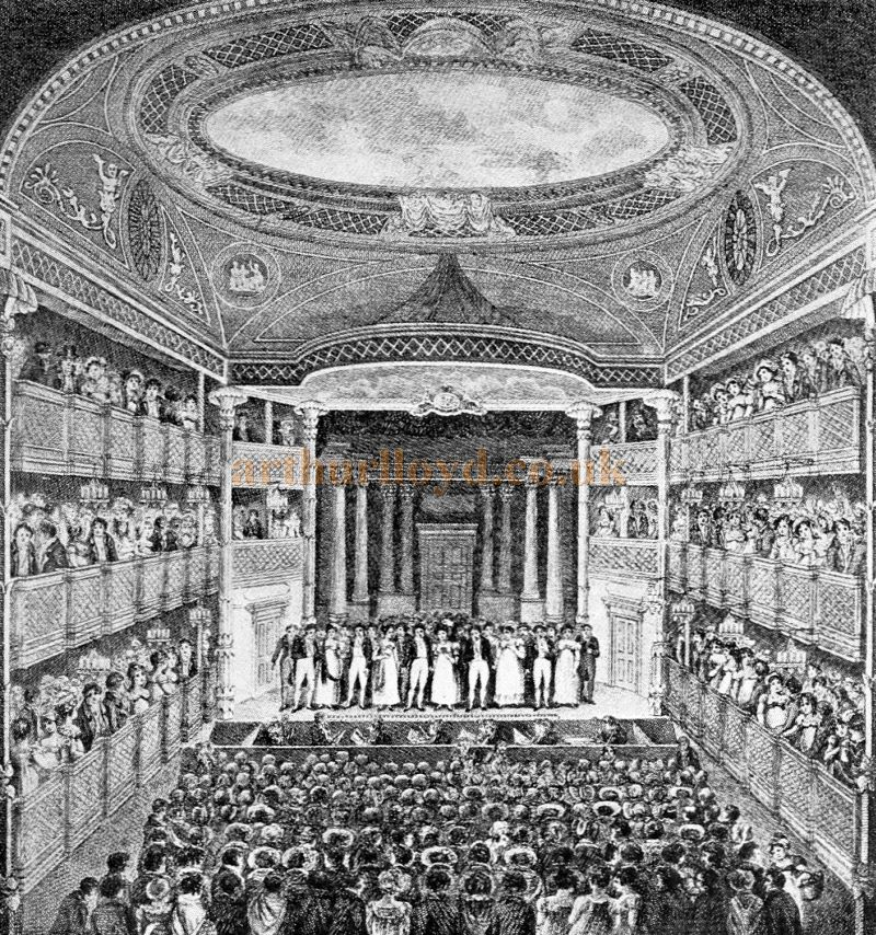 A Contemporary Print showing the Opening Night of the New Haymarket Theatre in 1821 - From 'Sheridan to Robertson' by Ernest Bradlee Watson, published in 1926.