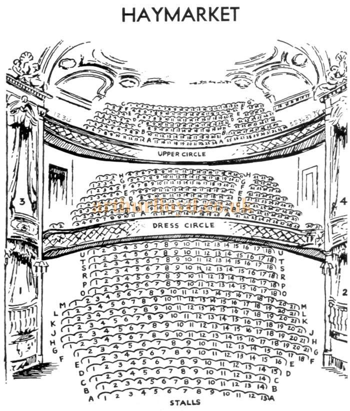 A mid 1920s Seating Plan for the Theatre Royal, Haymarket