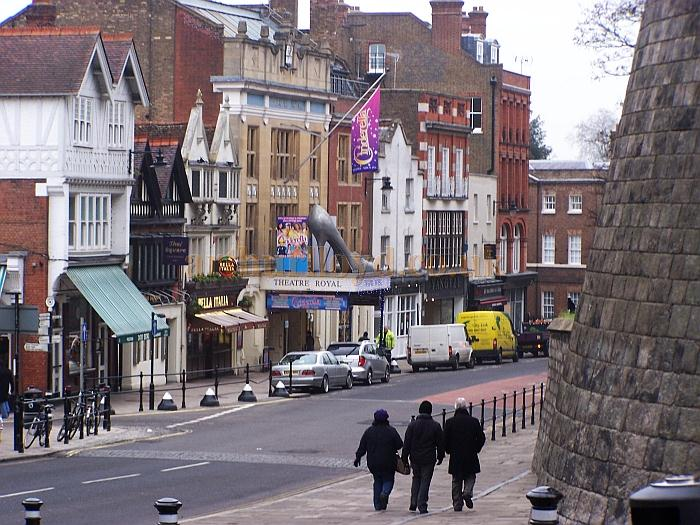 The Theatre Royal, Windsor and the walls of Windsor Castle, in the Theatre's centenary year and during the run of the pantomime 'Cinderella' in December 2010 - Photo M.L.