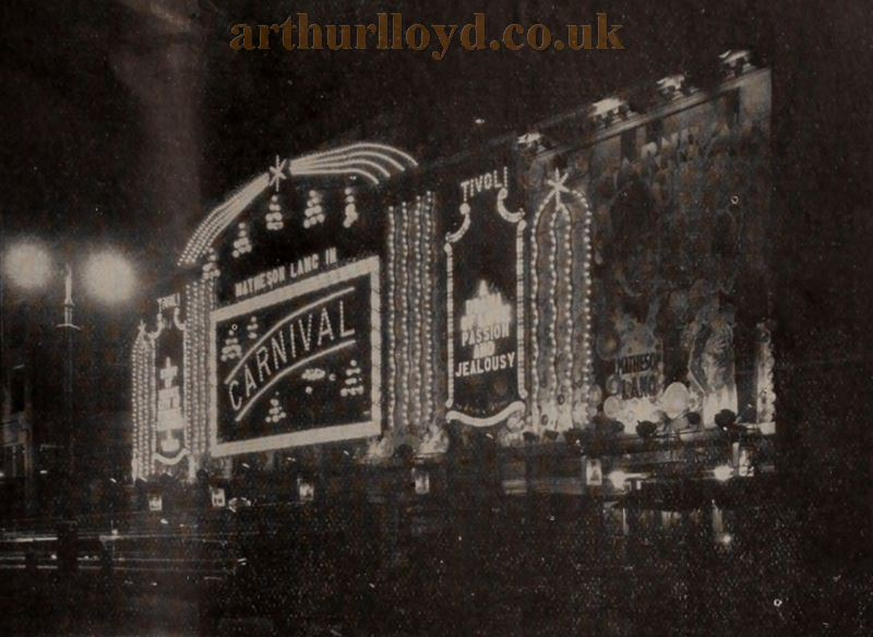 The Tivoli Theatre showing the film 'Carnival' in 1931 - From the Bioscope, 11th of November 1931.