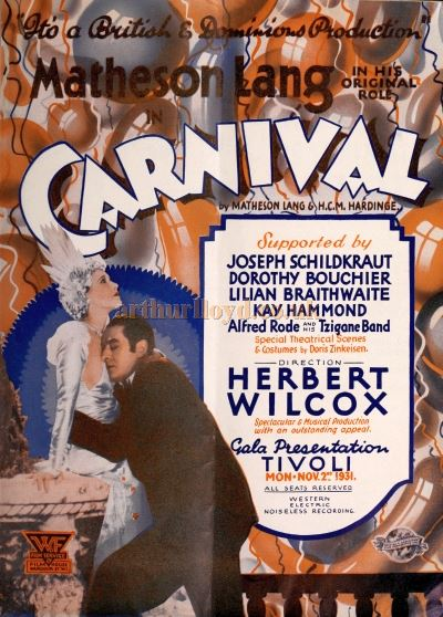 A Poster for the film 'Carnival' (Original Title 'Venetian Nights') showing at the Tivoli Theatre in 1931.