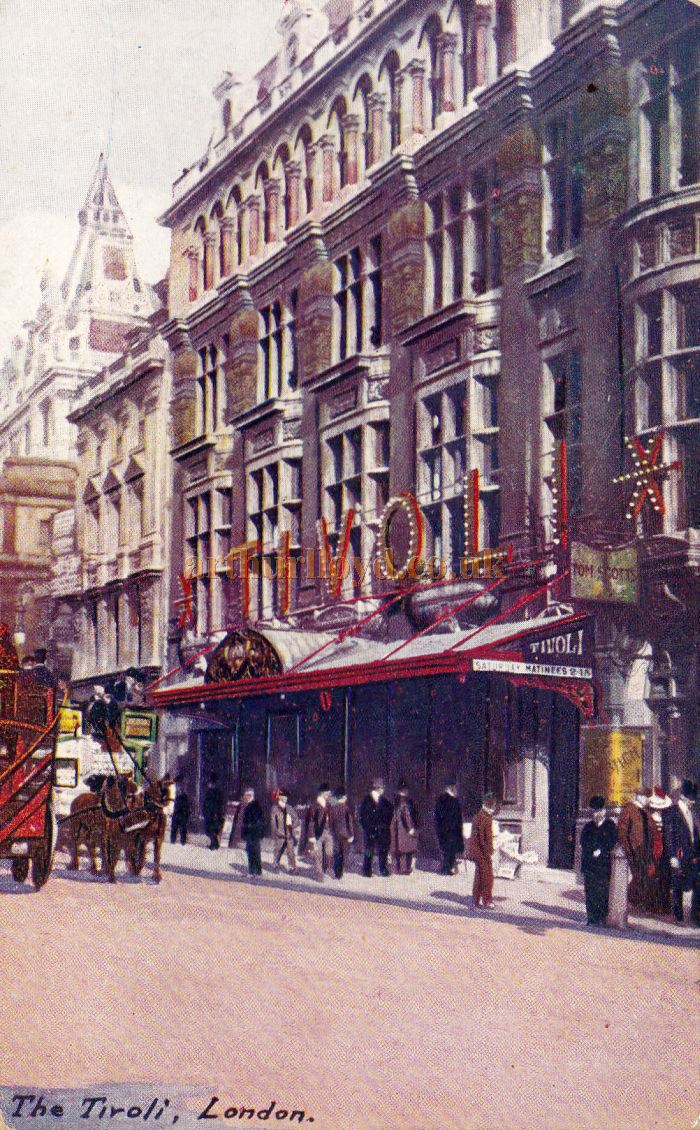A Postcard showing the Tivoli Theatre on the Strand which was sent in 1908