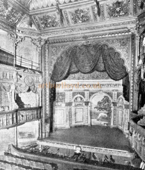 The auditorium and stage of the Tivoli Theatre after its Matcham remodeling of 1891 - From 'The Lost Theatres of London', Mander & Mitchenson.