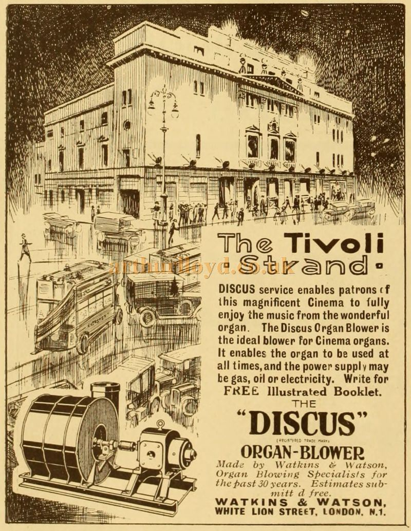 An Advertisement for the Discus Organ Blower as fitted at the Tivoli Picture Theatre, Strand - From the Supplement to The Cinema News and Property Gazette of October 2nd, 1944.