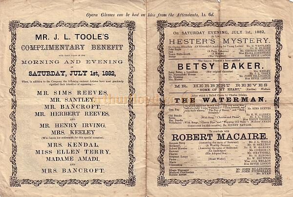 The inside of a Benefit programme for the newly constructed Toole's Theatre on July the 1st 1882.