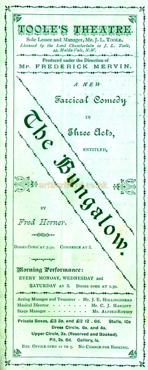 A programme for the farcical comedy 'The Bungalow' produced at Toole's Theatre on October 7th 1889.