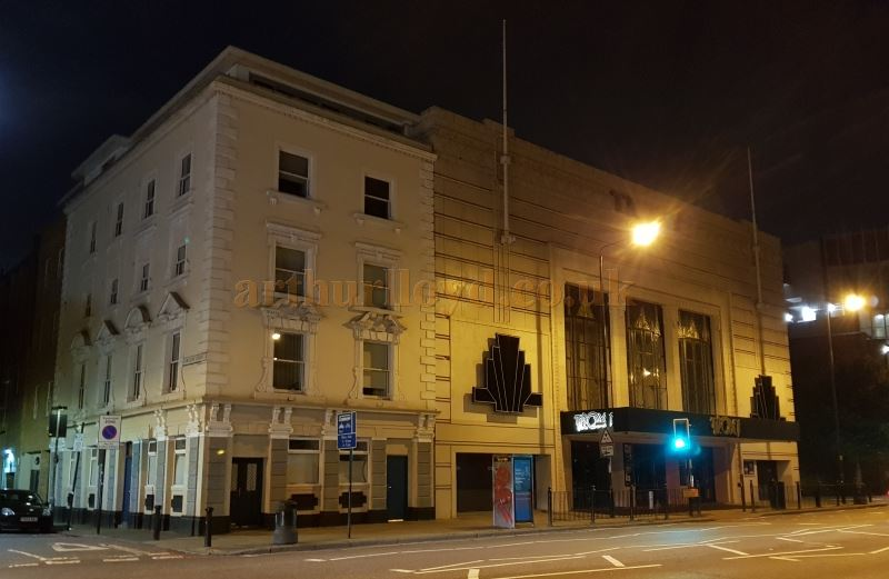 The Troxy, Commercial Road, London at night, in August 2018.