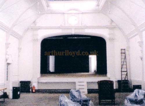 A Photograph of the interior and stage of the former Twentieth Century Theatre taken from the rear of the hall in 1998 - Courtesy The Margaret & Brian Knight Collection.