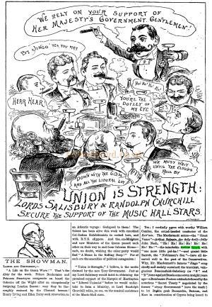 Lord Salisbury & Randolph Churchill Secure The Support of The Music Hall Stars - From The Penny Illustrated, issue 1313, Saturday August the 7th 1886 - Click for the whole article