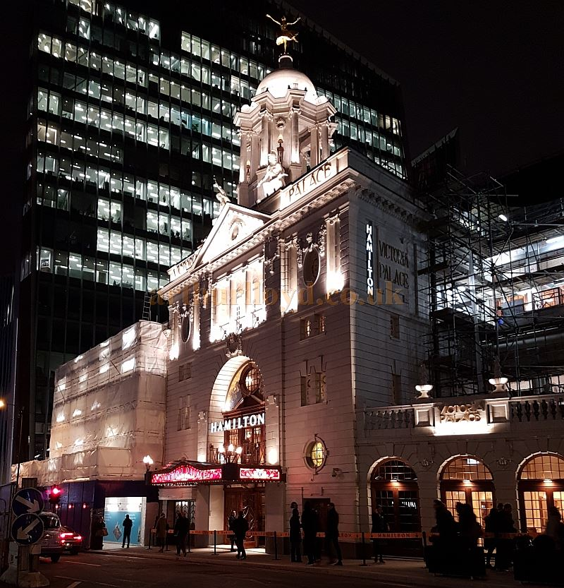 The Victoria Palace Theatre during production for the hit Broadway show 'Hamilton' in December 2017 - Photo M.L.