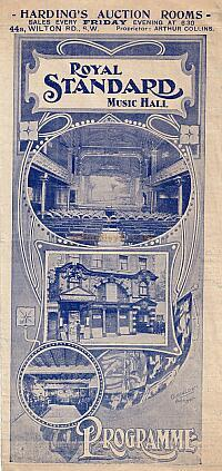 Programme for the Royal Standard Music Hall - Courtesy Peter Charlton.