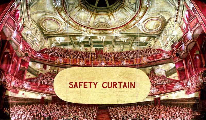 The Safety Curtain at the Victoria Palace Theatre, repainted by the Theatre's Master Carpenter many years ago, and designed to reflect a crowded audience back at them. Sadly the Safety Curtain had to be replaced in the 2017 refurbishment when the proscenium width and height were changed to accommodate an enlarged stage.