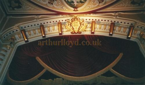 The Proscenium of the Theatre Royal and Opera House, Wakefield in 2000 showing the head of Backus looking down upon the audience- Courtesy David Garratt.