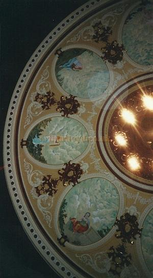 A section of the ceiling of the auditorium of the Theatre Royal and Opera House, Wakefield in 2000 showing the repainted Muses - Courtesy David Garratt.