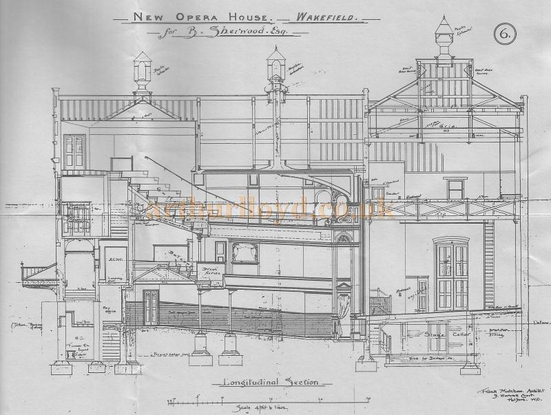Frank Matcham's Longitudinal Section drawing of the New Opera House, Wakefield in 1894 - Reproduced in the Theatre's appeal sheet of 1980.