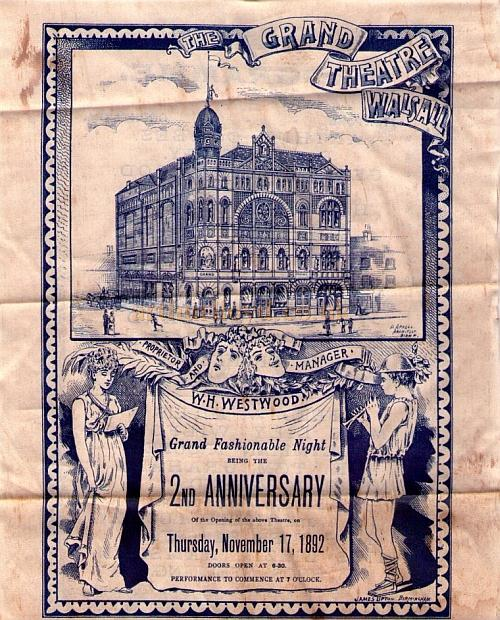 A variety programme, printed on silk to commemorate the second anniversary of the opening of the Grand Theatre, Walsall, on November the 17th, 1892 - Courtesy Nick Ratnieks.