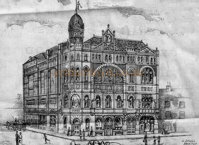 A sketch of the Grand Theatre, Walsall - From the second anniversary programme for the Theatre in November 1892 - Courtesy Nick Ratnieks.