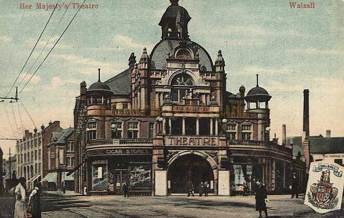 A period postcard depicting Her Majesty's Theatre, Walsall