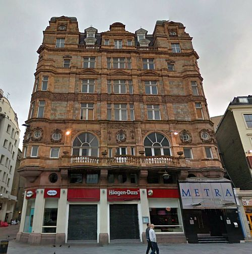 A Google StreetView Image of Victory House, Leicester Square, formerly the Hotel de l'Europe designed by Walter Emden in 1899. - Click to Interact.