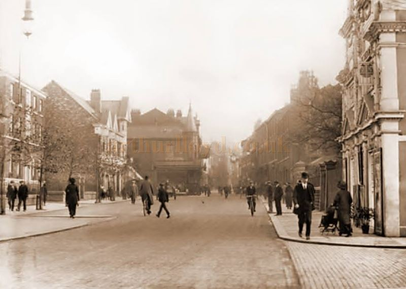 An early photograph of Sanky Street, Warrington showing the Picturedrome to the right - Courtesy Alan Barton and Barry Jones, Warrington Memories.