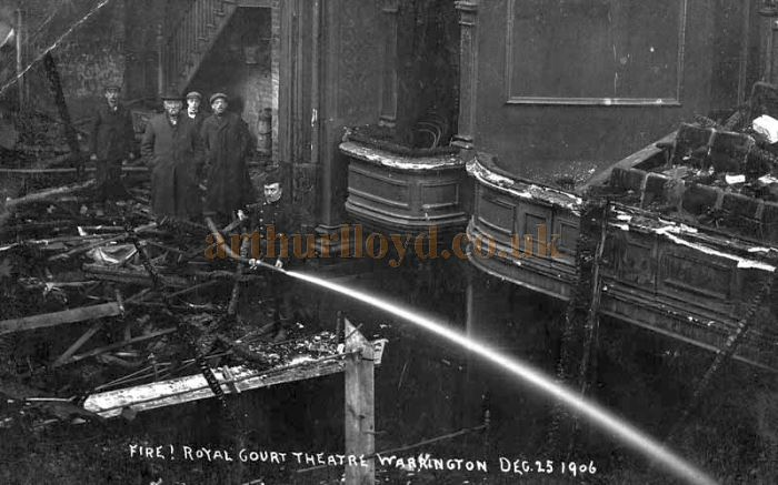 A photograph of the auditorium and stage of the Royal Court Theatre, Warrington after the fire in December 1906 - Courtesy Alan Barton and Barry Jones, Warrington Memories.