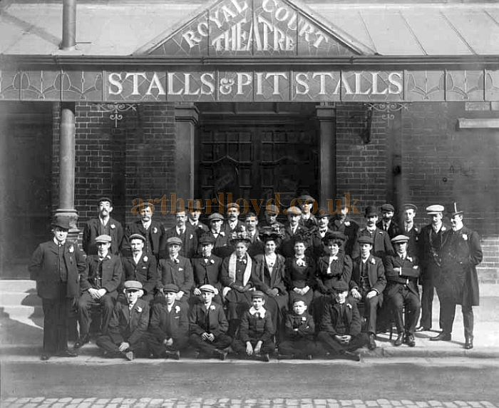 A photograph of the Staff of the Royal Court Theatre, Warrington posing outside the Theatre in 1908 - Courtesy Alan Barton and Barry Jones, Warrington Memories.