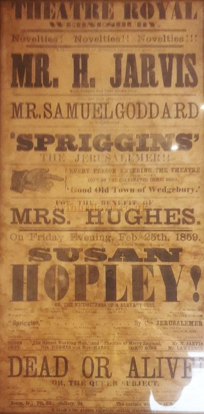 A Poster for the first Theatre Royal, Wednesbury in February 1859 - Courtesy David Millward.