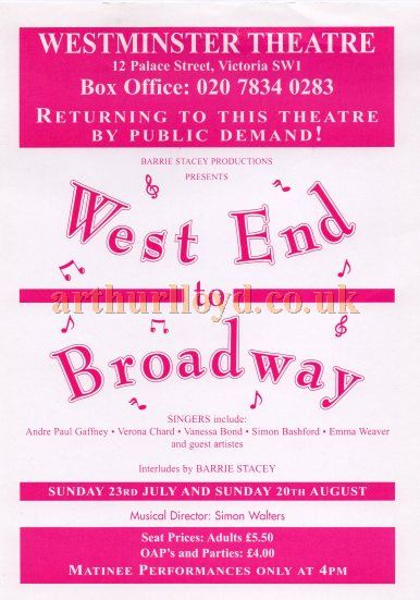 A Flyer for 'West End to Boradway' at the Westminster Theatre - Courtesy Keith Hopkins