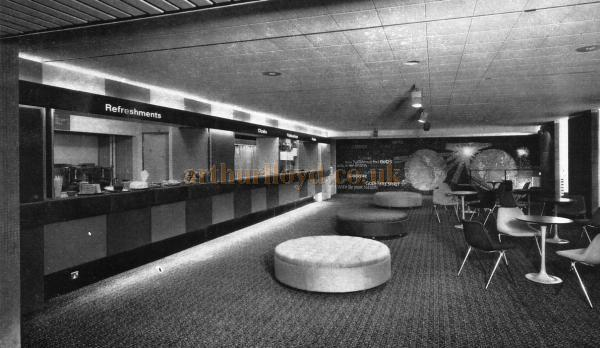 The Foyer of the Westminster Theatre in 1966 looking towards the mosaic mural, and showing the panels of Sudan leather on the right - From a Souvenir Book for the opening of the Westminster Theatre Arts Centre - Courtesy Richard Leigh.