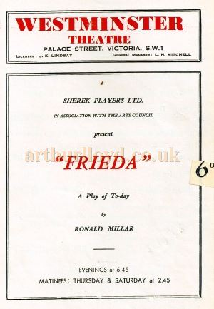 A Programme for 'Frieda' by Ronald Millar which played at the Westminster Theatre in 1946 - Courtesy Michael Jaffé whose Grandfather Carl Jaffé was in the cast.