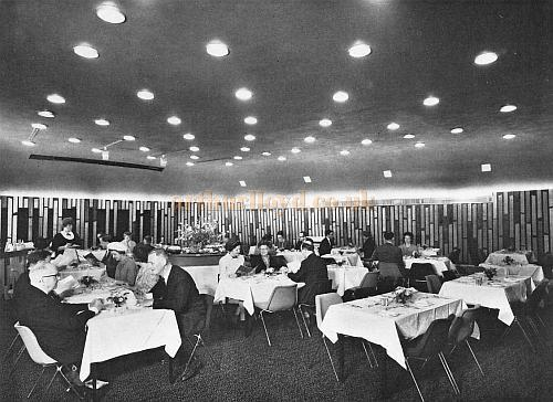 The Restaurant of the Westminster Theatre in 1966 , which was able to be converted into a Cinema and Conference Hall - From a Souvenir Book for the opening of the Westminster Theatre Arts Centre - Courtesy Richard Leigh.