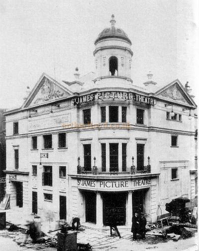 The St. James' Picture Theatre, the forerunner to the Westminster Theatre, just before its opening in 1923. The architect J. Stanley Beard is the right hand figure in front of the building