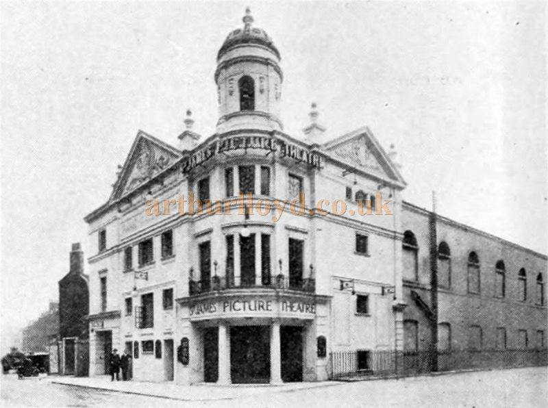 The St. James' Picture Theatre, the forerunner to the Westminster Theatre, from an advertisement for 'Furse Electric Curtain Controllers and Lighting Dimmers which the Cinema was equipped with - From The Cinema News and Property Gazette of October 2nd 1924.