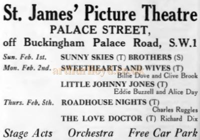 An advertisement for the St. James' Picture Theatre - From the Weekly Kinema Guide of 1930.