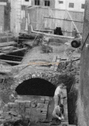 Photograph of the 14 foot in diameter Brick Tunnel which carries the Tyburn River diagonally under the Westminster Theatre Arts Centre, during construction work in 1966 - From a Souvenir Book for the opening of the Westminster Theatre Arts Centre - Courtesy Richard Leigh.