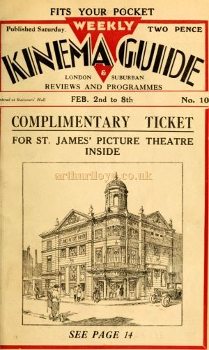 The Cover of the Weekly Kinema Guide for February 2nd including an image of the St. James' Picture Theatre, Westminster.