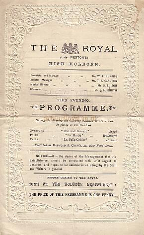 Programme for The Royal, Holborn (Late Weston's) - Courtesy Peter Charlton.